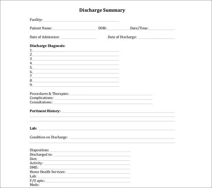 Database Discharge Summary Hospital Discharge Summary For Lung - discharge summary template