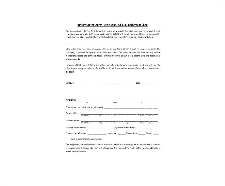 9+ Background Check Information Forms  Templates - PDF, DOC Free