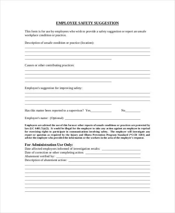 9+ Employee Suggestion Forms  Templates - PDF, Word Free