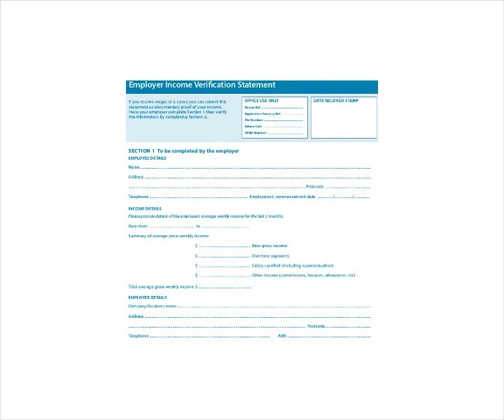9+ Employment Verification Forms - Free PDF, DOC Format Download - income verification form