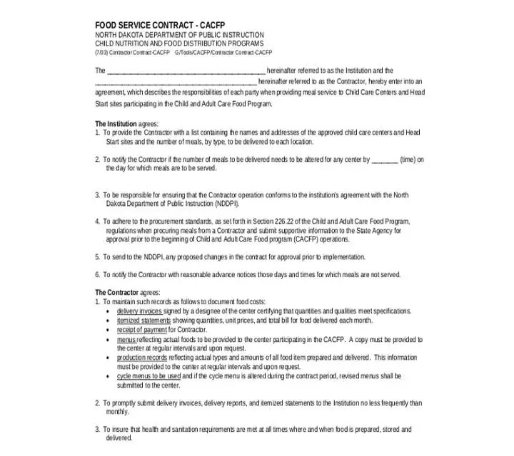 11+ Food Service Contract Templates for a Restaurant, Cafe, and - operations contract template