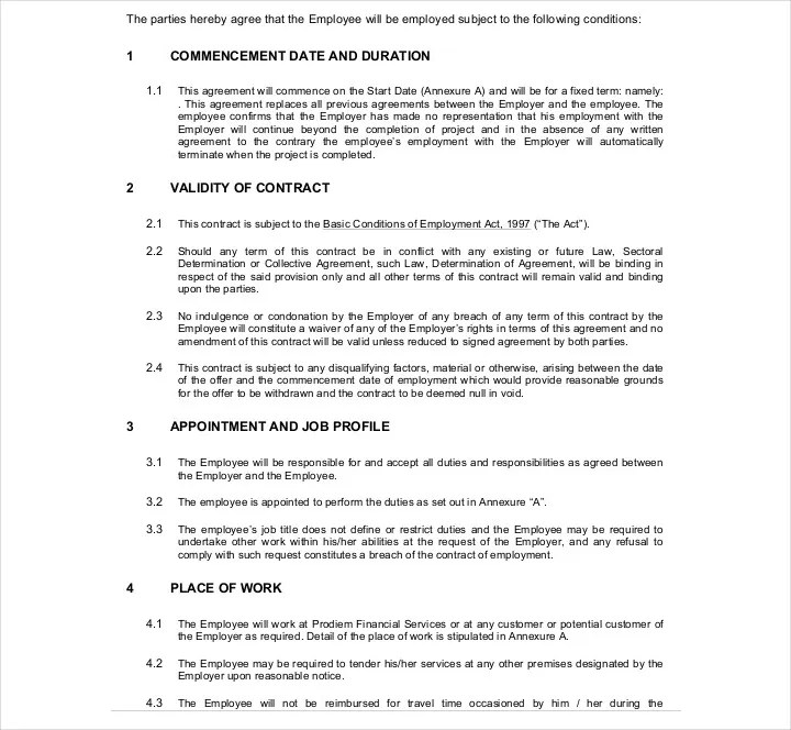 9+ Employment Contracts for Restaurants, Cafes, and Bakeries - job agreement contract