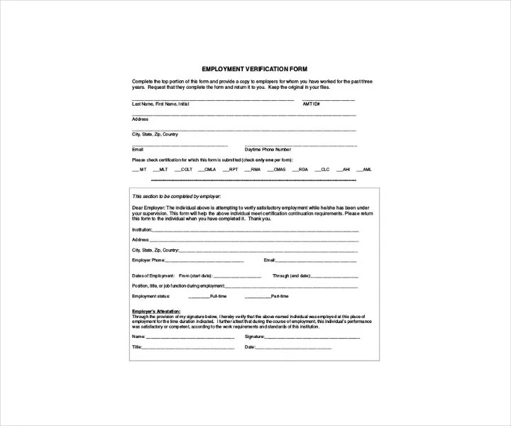9+ Employment Verification Forms - Free PDF, DOC Format Download