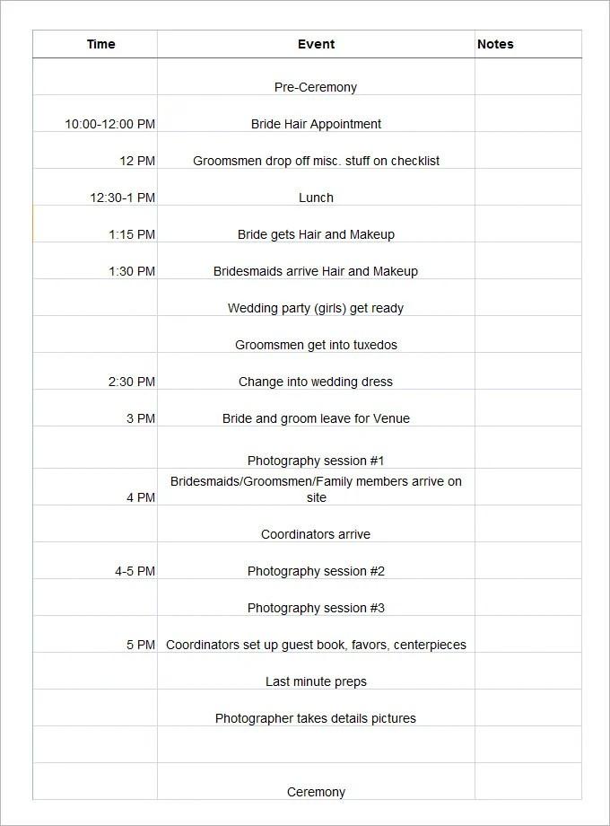 11+ Wedding Schedule Templates - Free PDF, DOC Format Download
