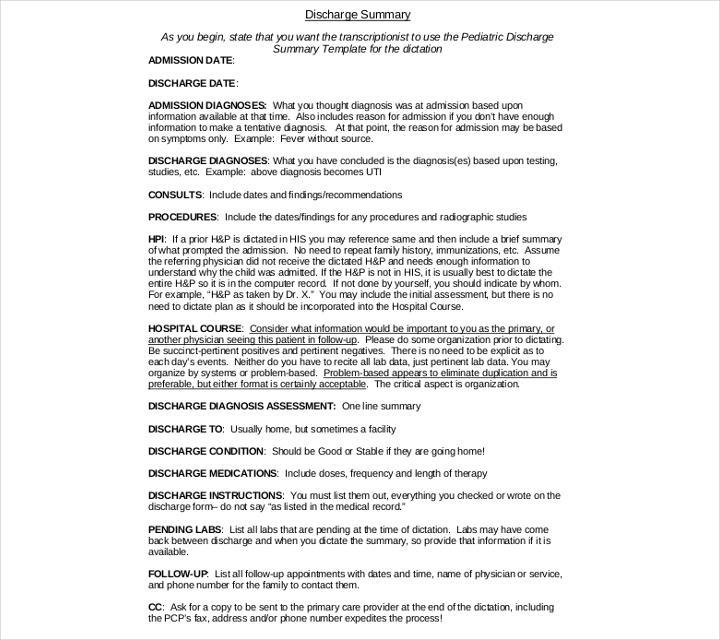 9+ Discharge Summary Templates - PDF, DOC Free  Premium Templates