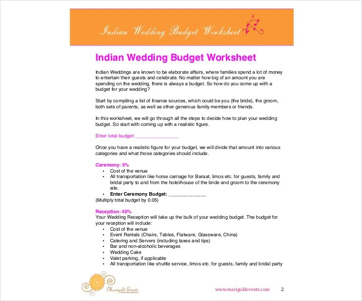 9+ Wedding Budget Worksheet Templates - PDF, DOC Free  Premium