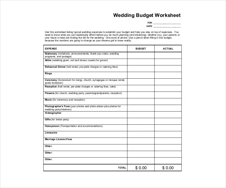 14+ Wedding Budget Templates - Free PDF, DOC, XLS Format Download - sample wedding budget
