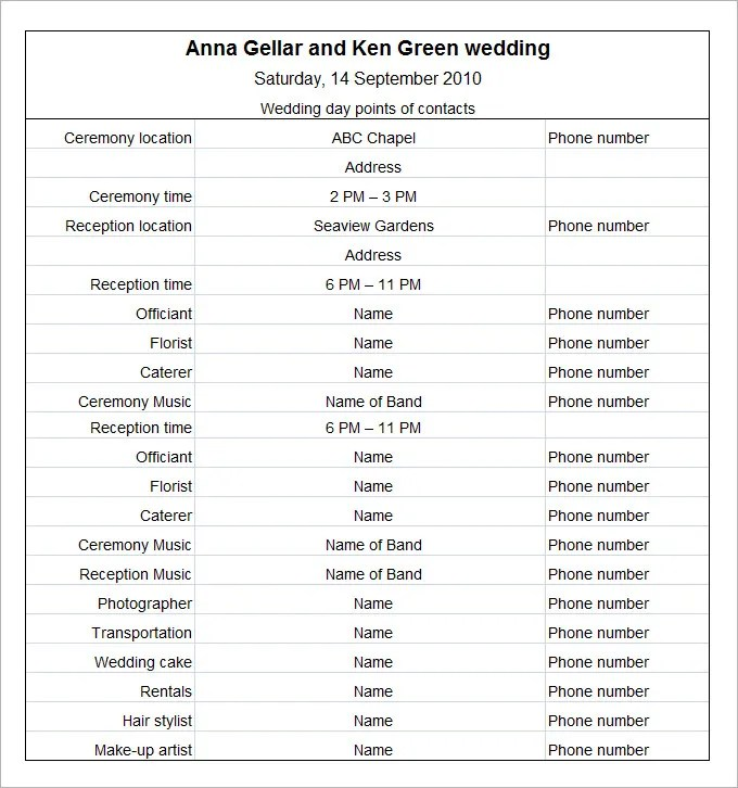 11+ Wedding Schedule Templates - Free PDF, DOC Format Download