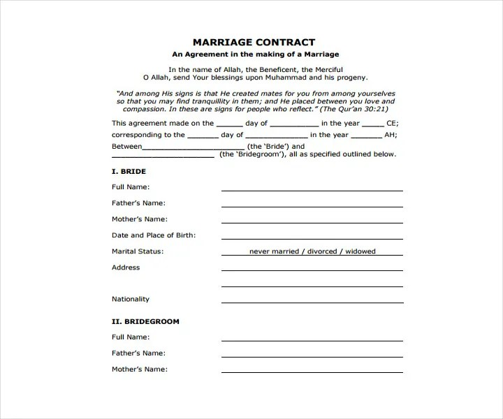 Doc#585550 Wedding Contract Template u2013 16 Wedding Contract - marriage contract template