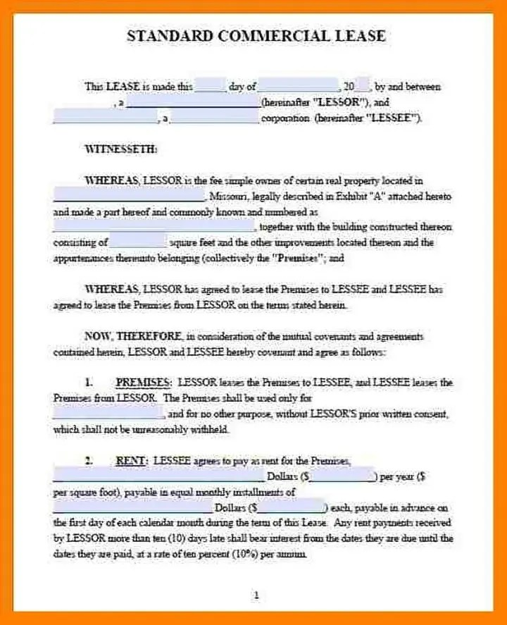 4+ Lease Contract Templates for Restaurant, Cafe, Bakery - PDF, DOC - commercial lease agreement sample