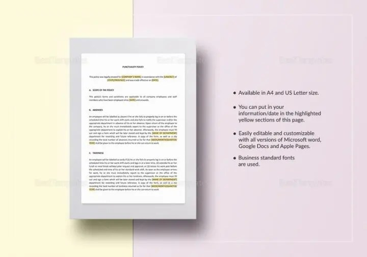 How to Make a Punctuality Policy Free  Premium Templates