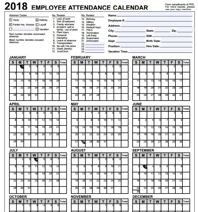 employee attendance calendar template 2018 - Ozilalmanoof - attendance calendar templates