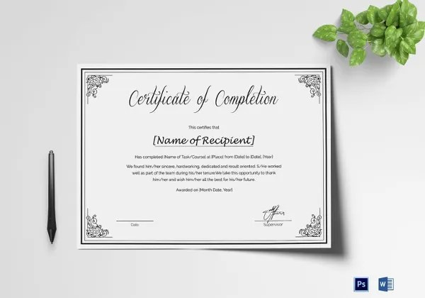 16+ Course Completion Certificate Designs  Templates - PSD