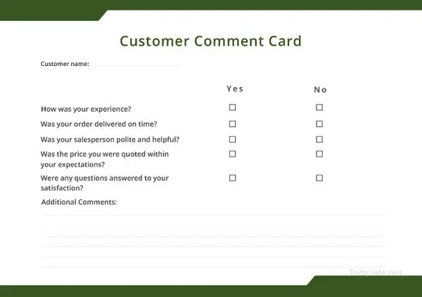 How to Make a Restaurant Comment Card - 5 Templates Free  Premium