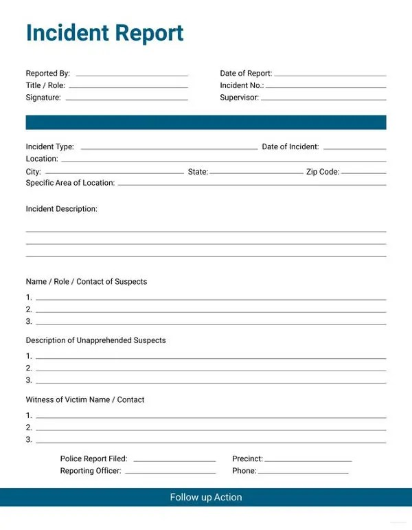 17+ Sample Incident Report Templates - PDF, DOC Free  Premium - Sample Incident Report