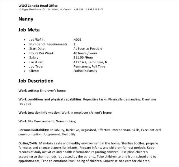 9+ Nanny Job Description Templates in PDF Free  Premium Templates