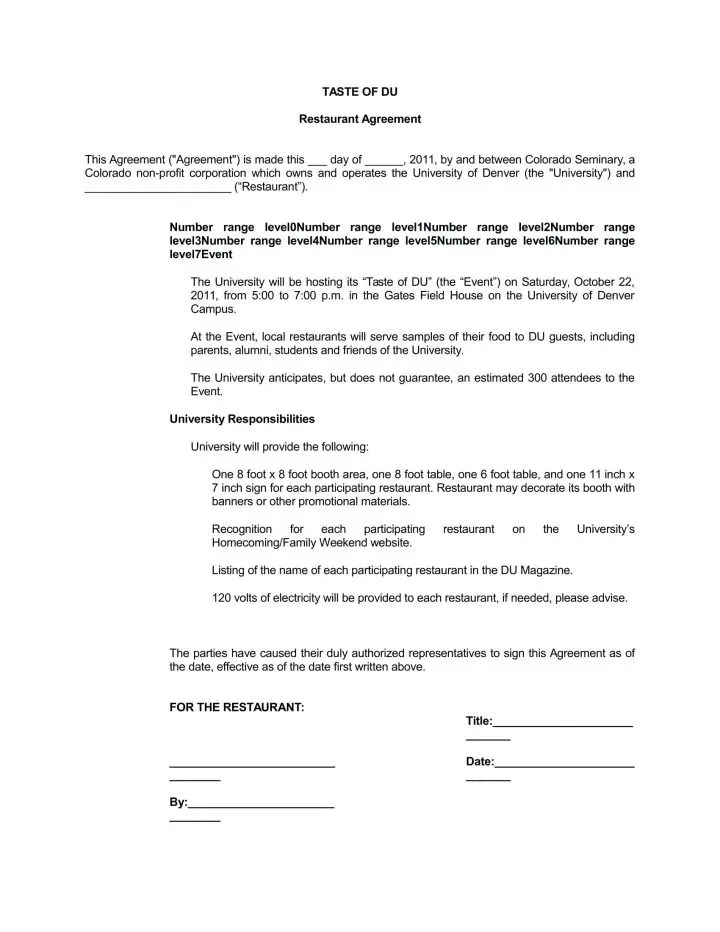 5+ Supply Agreements for a Restaurant, Cafe  Bakery - PDF Free - consulting agreement form