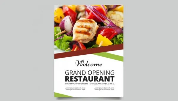 22 + Restaurant Grand Opening Flyer Templates - AI, PSD, Word Free