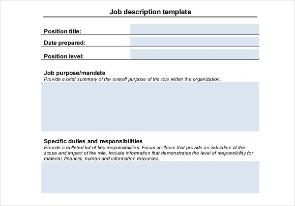 Job Description Templates - 32+ Free Word, Excel, PDF Free - job duty template