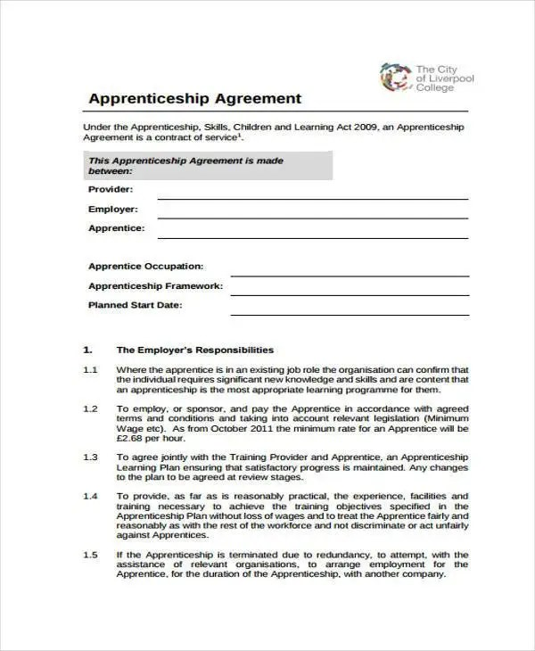 How to Make an Apprenticeship Contract Agreement Free  Premium