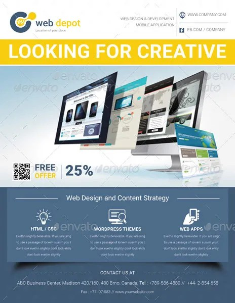 15+ Web Design Flyer Templates for Web Designers and Developers - web flyer template