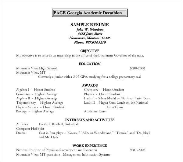 10+ Academic Resume Templates - PDF, DOC Free  Premium Templates - academic resume example