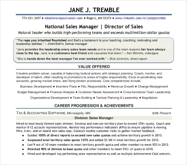 30+ Sales Resume Design Templates - PDF, DOC Free  Premium Templates - National Sales Director Resume