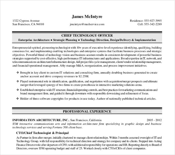 11+ Sample Executive Resume Templates - PDF, DOC Free  Premium - Chief Technology Officer Sample Resume