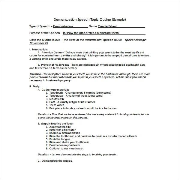 2+ How To Write A Demonstration Speech Outline - PDF Free
