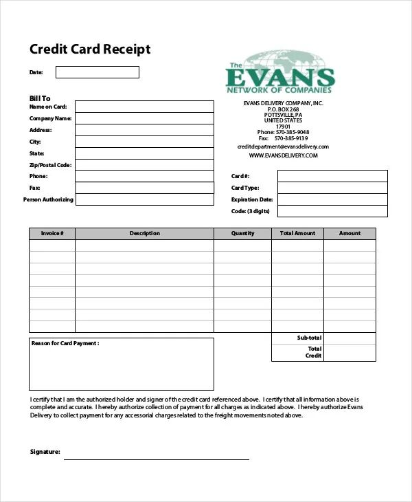 credit card order form template