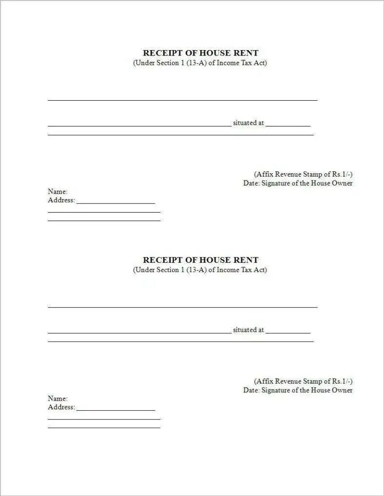 house rent receipt pdf