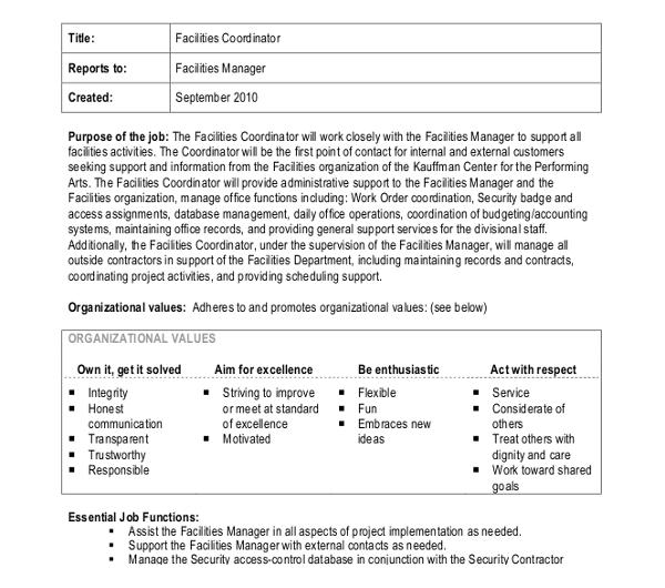 10+ Coordinator Job Description Templates - PDF, DOC Free - facility manager job description
