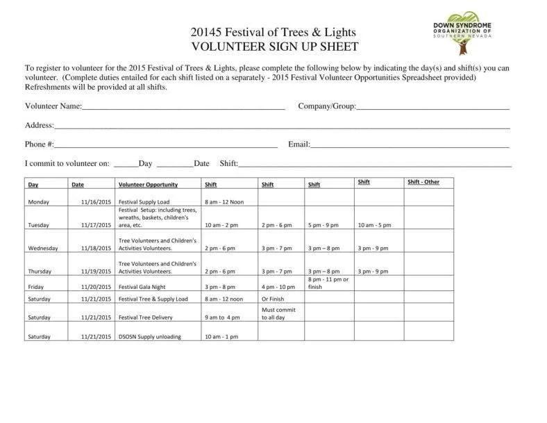 10+ Volunteer Sign-Up Sheet Templates - PDF Free  Premium Templates