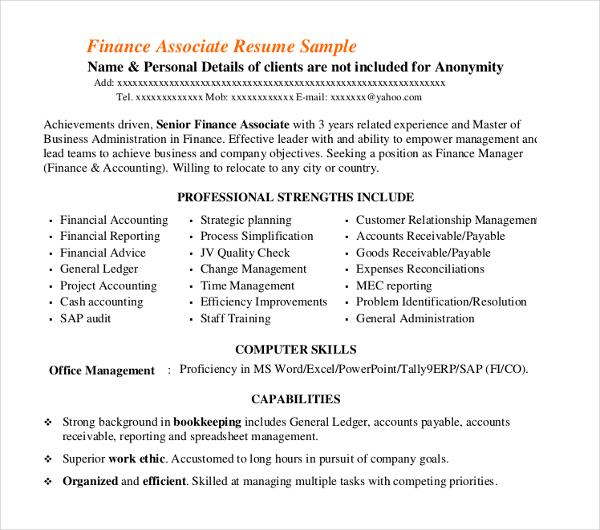 40+ Basic Finance Resume Templates - PDF, DOC Free  Premium Templates