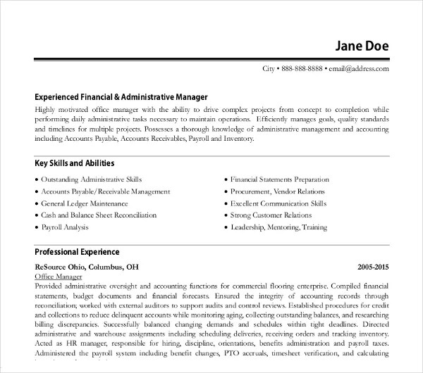 8+ Office Manager Resume Templates - PDF, DOC Free  Premium Templates - Administrative Manager Resume
