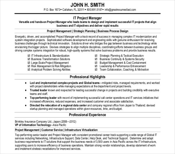26+ Manager Resume Templates - PDF, DOC Free  Premium Templates - it project manager resume template