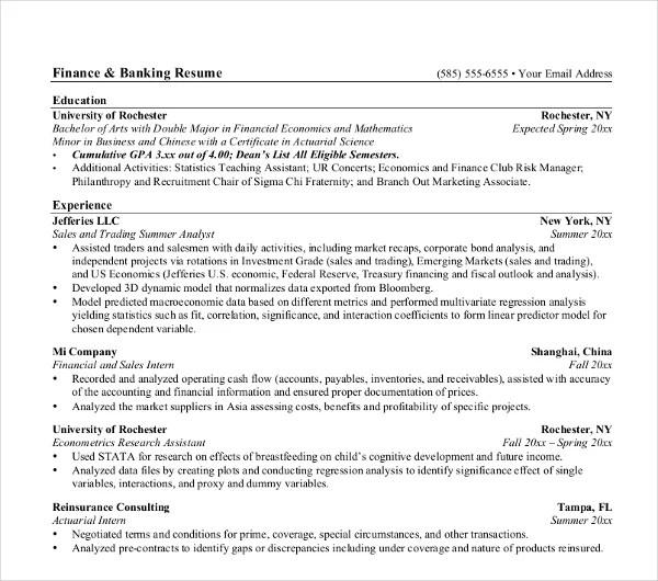 18+ Banking Resume Templates - PDF, DOC Free  Premium Templates - investment banking associate sample resume