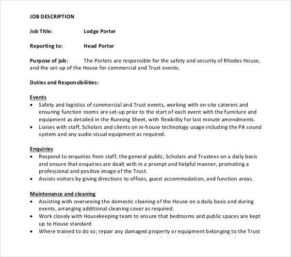 Porter Job Description Cook Job Description Sample Cooking Job