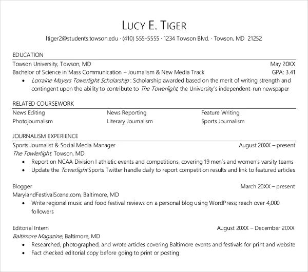 female resume template