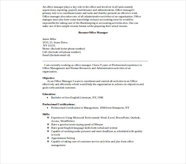 8+ Office Manager Resume Templates - PDF, DOC Free  Premium Templates