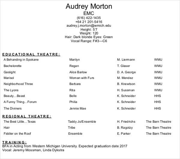 10+ Acting Resume Templates - PDF, DOC Free  Premium Templates