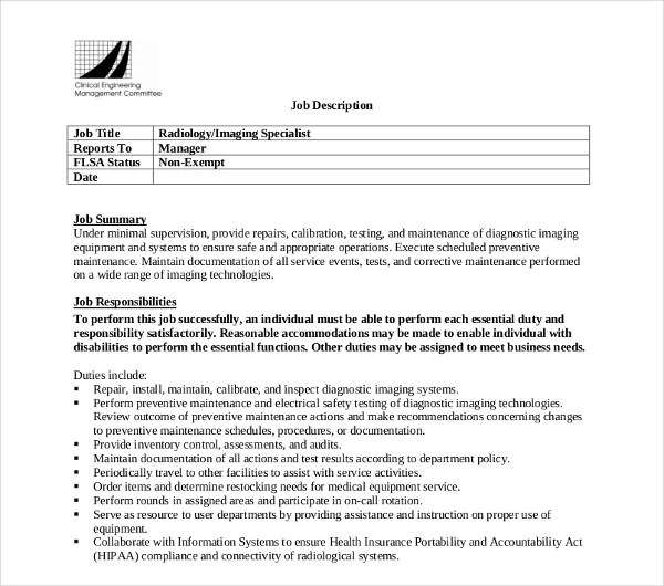 Radiologist Job Description X Ray Technologist Job Description - radiologist job description