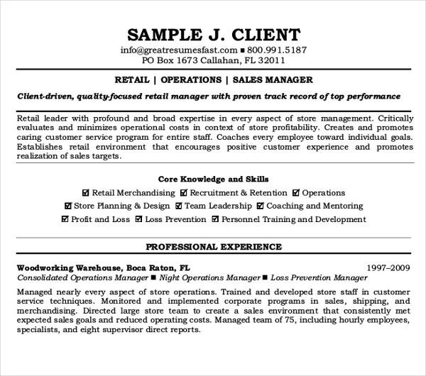 10+ Sample Retail Resume Templates - PDF, DOC Free  Premium Templates