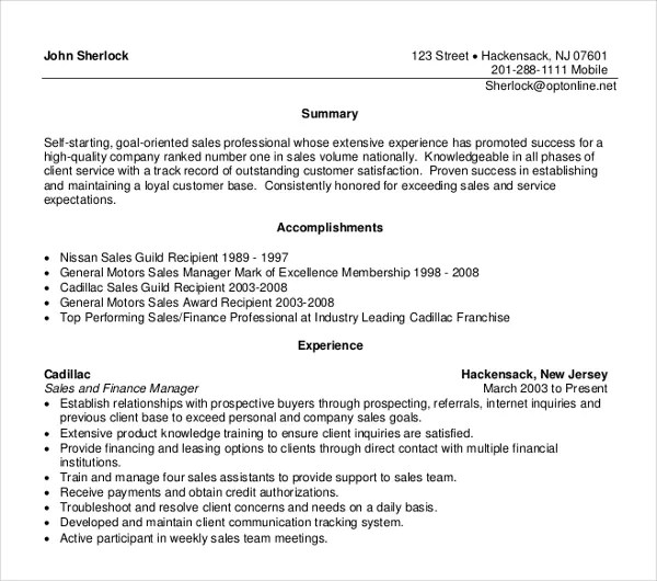10+ Sales Manager Resume Templates - PDF, DOC Free  Premium Templates - resume sales manager