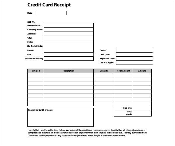 7+ Credit Card Receipt Templates - PDF Free  Premium Templates