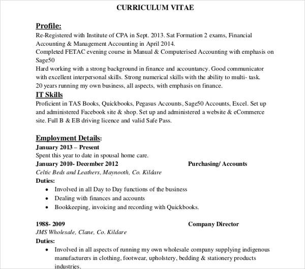 8+ Sample IT Curriculum Vitae Templates - PDF, DOC Free  Premium