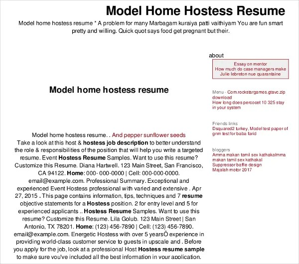 9+ Hostess Resume Templates - Free Sample, Example Format Download