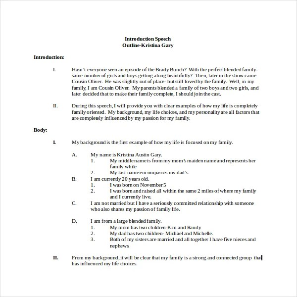 4+ Introduction Speech Outline Templates - PDF, Word Free - Introduction Speech Example