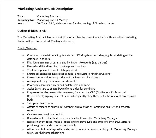 10+ Marketing Assistant Job Description Templates - PDF, DOC Free - marketing assistant job description