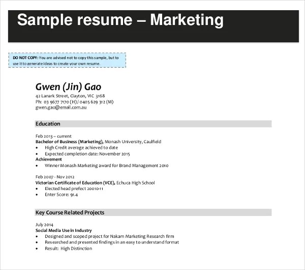20+ Modern Marketing Resume Templates - PDF, DOC Free  Premium - sample resume for marketing